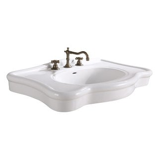 White Vitreous China Bathroom Console Sink Deluxe Counter Top
