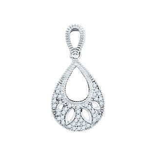 Drop Shape Chandelier Pendant 10k White Gold With White Diamonds 0.10Ctw By MidwestJewellery