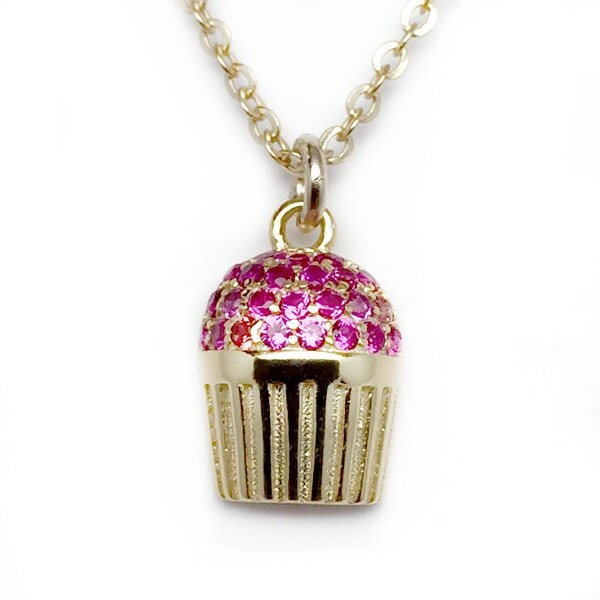 "Julieta Jewelry Pink CZ Cupcake Gold Charm 16"" Necklace"