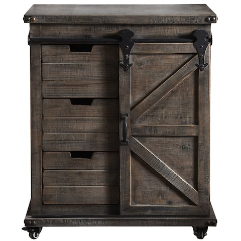 StyleCraft Presley Driftwood Grey 3-Drawer with Door Side Cabinet