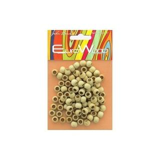 286601 01 John Bead Wood Beads Rnd Lg Hole 8x6 5mm Natural