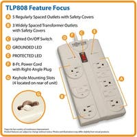 Tripp Lite Tlp808 8-Outlet Surge Protector, 8Ft Cord With Right-Angle Plug