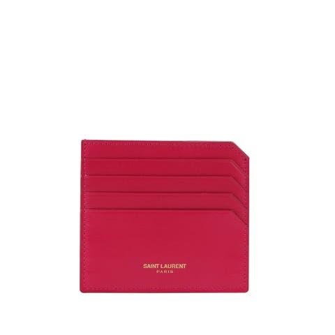 Saint Laurent Women's Paris Fuchsia Leather Card Holder 327211 5514 - One size