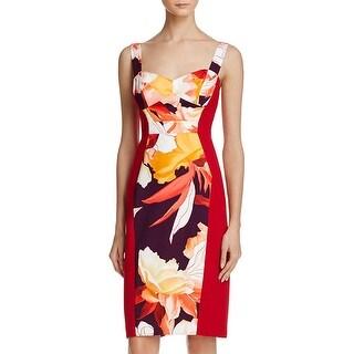 Black Halo Womens Sadie Cocktail Dress Floral Print Colorblock