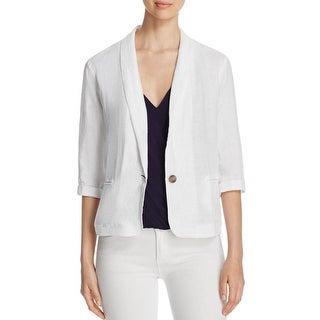 Three Dots Womens One-Button Blazer Linen Collar White M