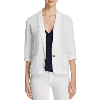Three Dots Womens One-Button Blazer Linen Collar White S