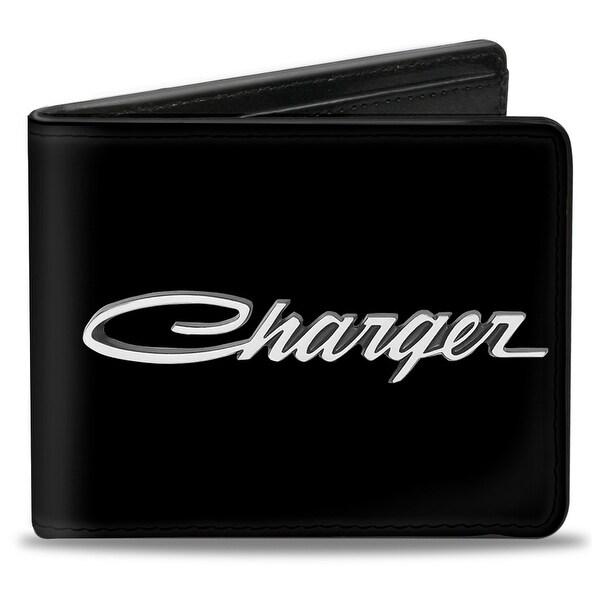 Charger Script Emblem Corner Black Silver Fade White Bi Fold Wallet - One Size Fits most