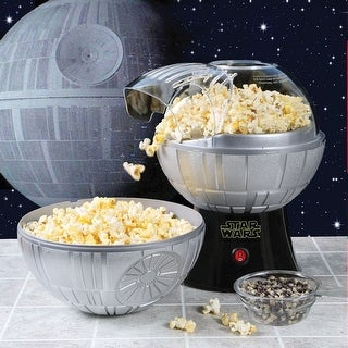 Star Wars Rogue One Death Star Hot Air Popcorn Maker with Removable Bowl and 2 lb Bag of Empire Dark Side Popcorn