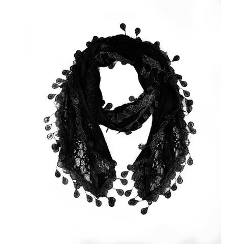 "Women's Sheer Lace Scarf with Teardrops Fringe - 66"" / width approx. 10"" without fringes"