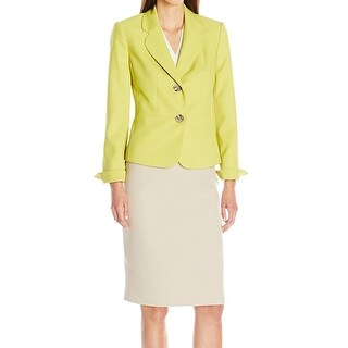 Le Suit NEW Yellow Honeydew Beige Women's 4 Two-Button Skirt Suit Set
