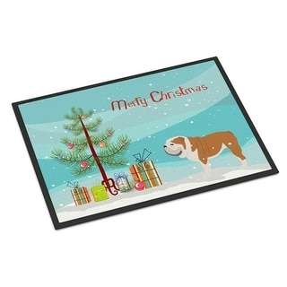 Carolines Treasures BB2980MAT English Bulldog Merry Christmas Tree Indoor or Outdoor Mat 18x27