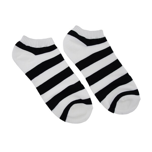 Women`s Black and White Stripes Ankle Socks