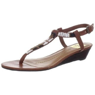 DV By Dolce Vita Womens Stella Faux Leather T-Strap Wedges - 8.5