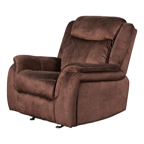 Fabric Upholstered Power Reclining Chair with Contrast Stitching, Brown