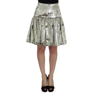 Dolce & Gabbana Gold Metallic Pleated Skirt