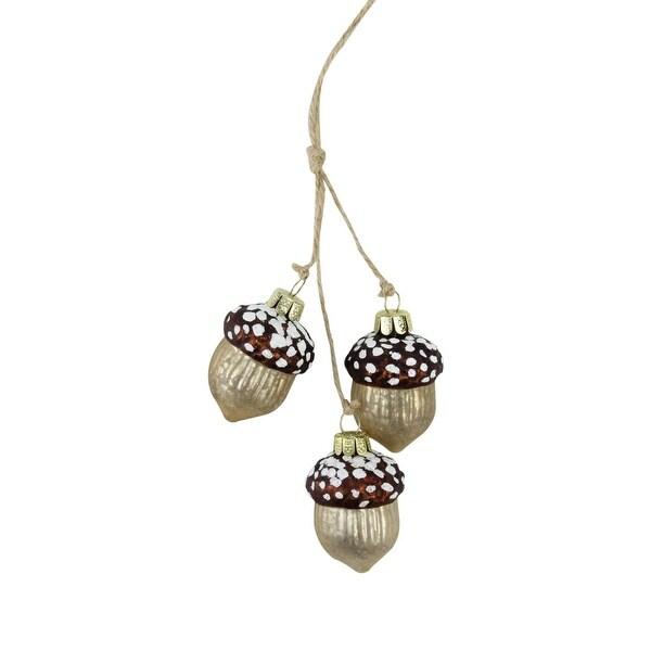 "9"" Glittered Trio of Acorns Mercury Glass Christmas Ornament - brown"