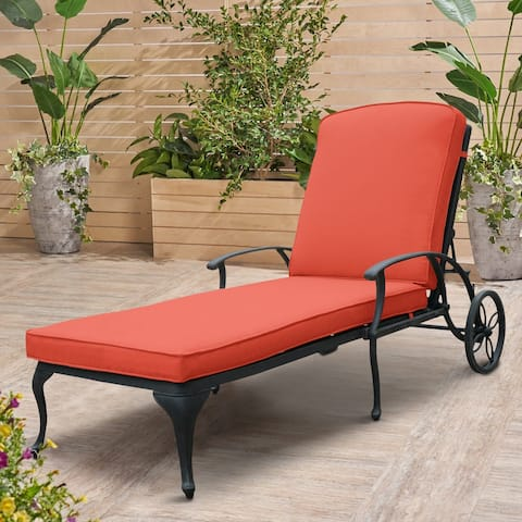 Clihome Antique Bronze Aluminum Reclining Outdoor Chaise Lounge