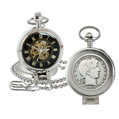Silver Barber Half Dollar Coin Pocket Watch with Skeleton Movement - Magnifying Glass - Black Dial with Gold Roman Numerals