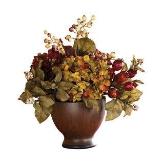 Nearly Natural Autumn Hydrangea with Round Vase