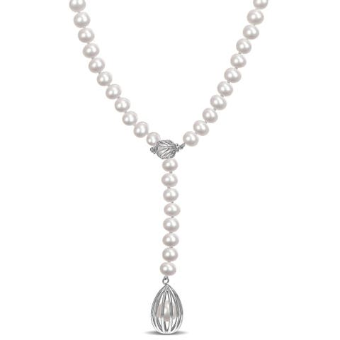 Miadora Cultured Freshwater Pearl Cage Lariat Y-Necklace in Sterling Silver