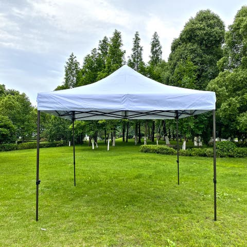 10x10 Ft Folding Portable Canopy Tent in White - 118*118*135INCH