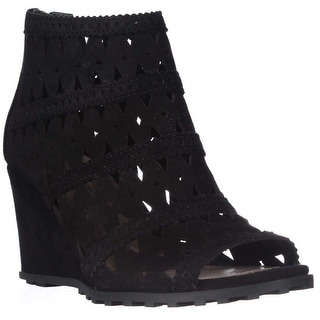 Via Spiga Latanya Wedge Sandals, Black Suede