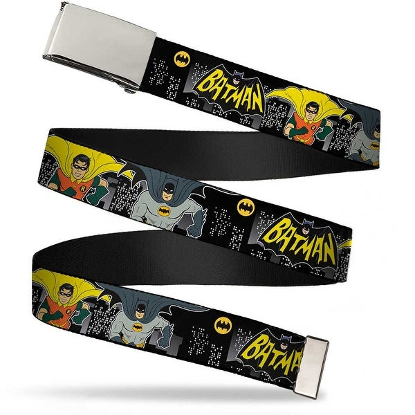 Blank Chrome Buckle Batman Classic TV Batman & Robin Running Cartoon Web Belt