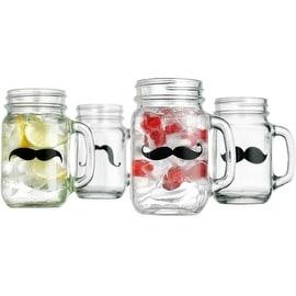 Palais Glassware Mason Jar Tumbler Mug with Handle - 16 Ounces - Set of 4 (Mustache Design)