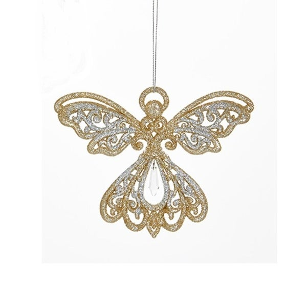 """4"""" Silver and Gold Glitter Angel with Clear Hanging Pendant Christmas Ornament"""