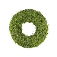 """13"""" Green Reindeer Moss Artificial Floral Spring Wreath"""