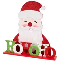 "Set of 2 Glittering Santa Claus Face ""Ho Ho Ho"" Christmas Plaques Decorations 18.5"" - RED"