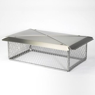 """Gelco 11746 17"""" x 29"""" 304 Stainless Steel Multi-Flue Chimney Protector Cap with"""