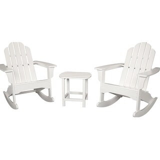 Hanover Outdoor ADROCKER3PCWH 3-Piece All-Weather Rocking Adirondack Patio Set - White