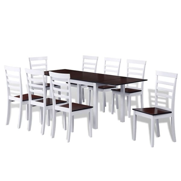Vidaxl Brown White Solid Wood Extending Dining Table Set With 8 Chairs