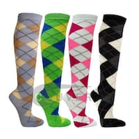 Argyle Ladies Colorful Variety Design Assorted Knee High Stocking Socks 4-pack