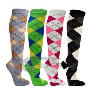 Argyle Ladies Colorful Variety Design Assorted Knee High Stocking Socks 4-pack