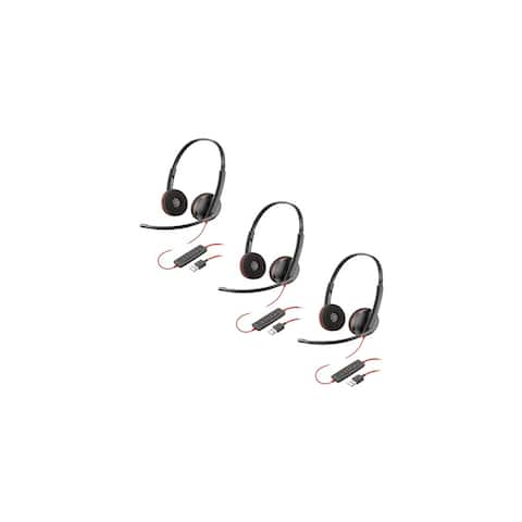 Plantronics Blackwire C3220 USB-A Over the Head Corded UC Headset-3pk