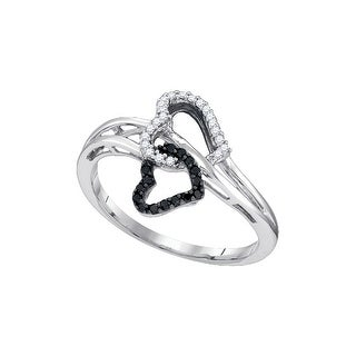 10k White Gold Black Colored Round Natural Diamond Womens Double Heart Love Ring 1/7 Cttw