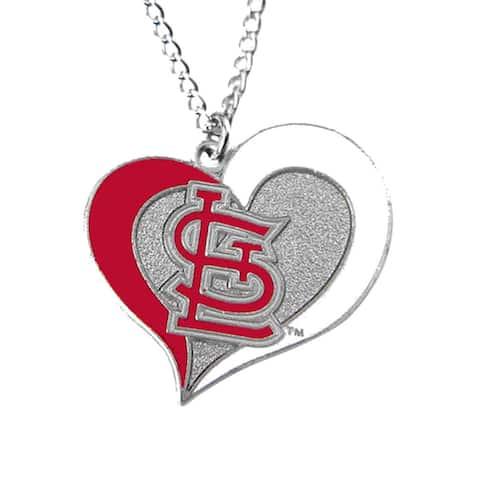 MLB St Louis Cardinals Sports Team Logo Swirl Heart Necklace