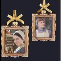 "4"" Downton Abbey Gold Glass Daisy Mason and Mrs. Patmore Picture Frame Christmas Ornament"