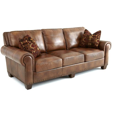 Sanremo Top Grain Leather Sofa with Nail Head Trim and Two Decorative Pillows by Greyson Living