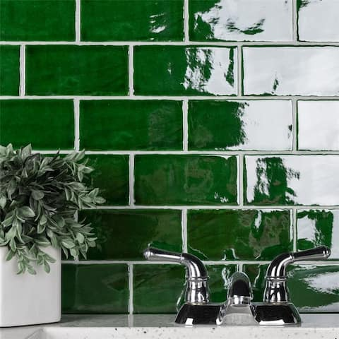 SomerTile Antic Verde 3x6-inch Ceramic Wall Tile (32 tiles/4.38 sqft.) - CASE