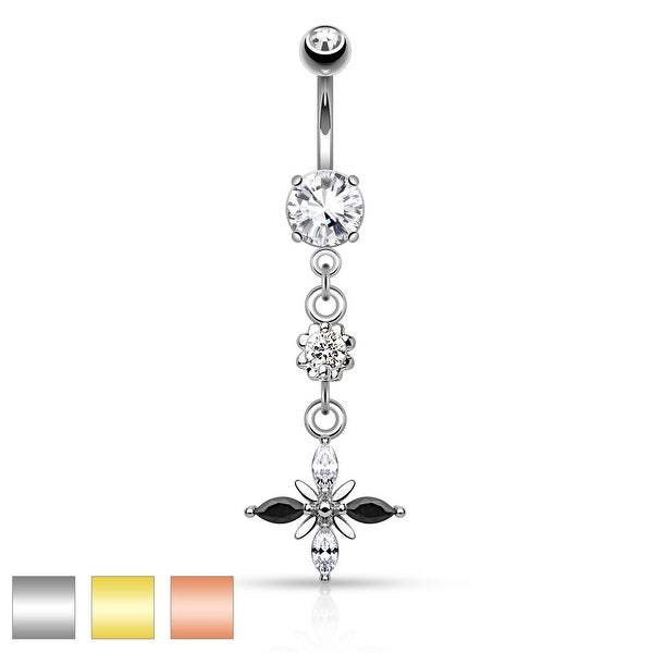 Black and Clear Marquise Cut CZs Dangle Navel Ring