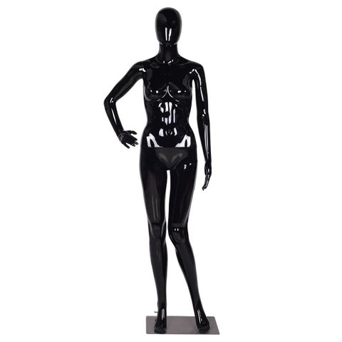 Costway Female Mannequin Full Body Dress Form Display Plastic Egg Head High Gloss Black