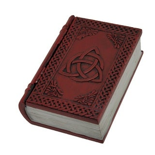 Dark Red Embossed Triquetra Book Look Trinket Box with Hinged Lid - 2 X 6 X 4 inches