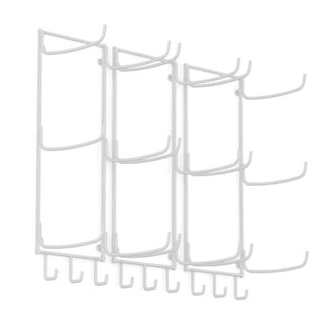 Wallniture Guru Wall Mount Yoga Mat Holder and Towel Rack with 3 Hooks (Set of 3)