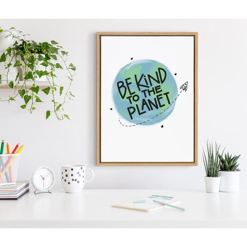 Kate and Laurel Sylvie Be Kind Planet Framed Canvas by Jenn Van Wyk