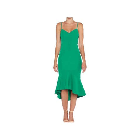 BARDOT Green Spaghetti Strap Below The Knee Dress XL