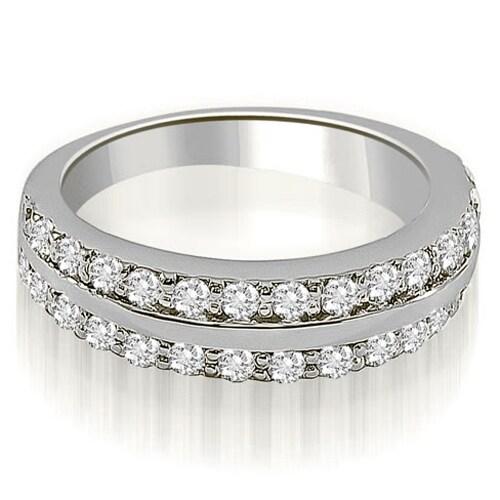 1.00 cttw. 14K White Gold Two Row Round Cut Diamond Wedding Ring