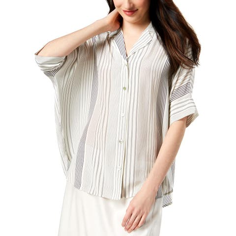 Eileen Fisher Womens Petites Button-Down Top Silk Striped - PM